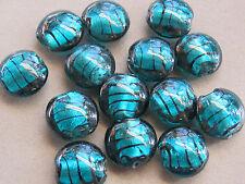 20 Handmade Lampwork Silver Foil Teal  Black 20mnm  Glass Beads(S24D)