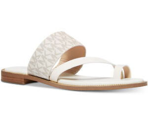 New Michael Kors pratt flat Sandal vanilla mono PVC  Mk MONO shoes women