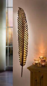 """Wandhänger """"Feder"""" aus Metall, gold, 99 cm hoch, Wand Deko Schmuck Hänger"""