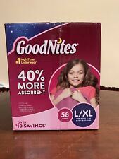 GoodNites Bedtime Bedwetting Underwear for Girls, L-Xl, 58 Count~New/Sealed Box