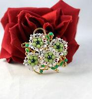 Vintage Green Enamel & Rhinestone Flower  Pin Brooch   CAT RESCUE