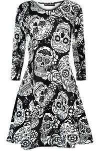 Womens Halloween Skull Pumpkin Bat Ladies Long Sleeve Swing Dress Plus Size 8-24