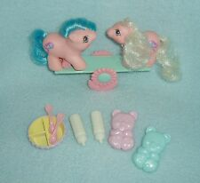 "Rare Vintage My Little Pony ""Sticky and Sniffles"" with See-Saw & Accessories EUC"