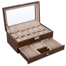 Watch Box Organizer 12 Mens Jewelry Display Drawer Tray Glass PU Leather Brown