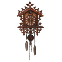 Cuckoo Wall Clock Hanging Wood Forest Tree House Handcraft Swing Vintage Battery