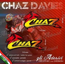 2 Adesivi Stickers Chaz DAVIES 7 numero cupolino replica 11 x 5 cm nickname