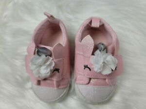 Carter's Just One You Pink Unicorn/Glitter Shoes Size 3-6 Months - NWOT