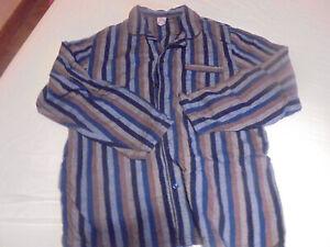 Herren Schlafanzug klassischer Stil Gr L blau-braun gestreift Flanell von HIS