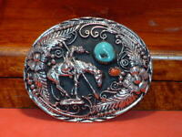 Pre-Owned Turquoise & Coral Knight on Horse Belt Buckle