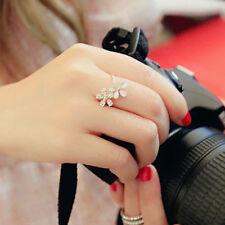 Golden Daisy Flower Crystal Rhinestone Ring Adjustable Ring For Women Girls Gift