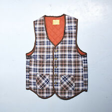 Small 1970s Deadstock Plaid Flannel Vest VTG Brown Patch Pockets Button Front