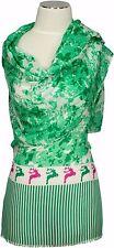 Trachtenschal Tuch Weiß Grün Pink Hirsche Dirndl  Schal Wiesn Modal