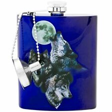THREE WOLF MOON Stainless Steel Hip Flask, 7 oz, by Spoontiques