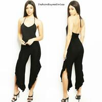 Haute Women Black Sleeveless Halter Asymmetric Ruffle Wide Leg Jumpsuit S M L