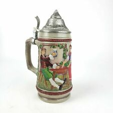 Gerz Beer Stein Man with Friends Trumpeter Made in West Germany 9inch Pewter Lid