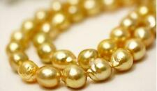 """huge18""""13-14mm genuine natural south sea gold nuclear pearl necklace 14k"""