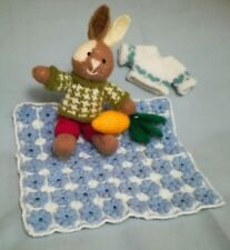Boy Bunny Picnic (Blanket & Carrot) - Hand Knitted Soft Toy - New Custom Crafted