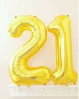 "16"" 21 Gold Number Balloons 21st Birthday Party Anniversary Foil Balloon Decor"