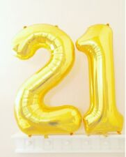 "40"" Large 21 Gold Number Balloons 21st Birthday Anniversary Foil Float Helium"
