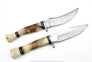 Pair of HAND FORGED Steel Skinner Hunting Knife Stag/Antler Handle & Sheath