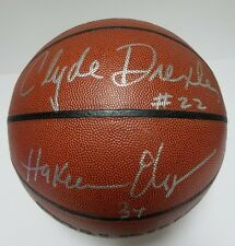 Hakeem Olajuwon/Clyde Drexler Signed Official I/O Basketball PSA/DNA HOF J87547