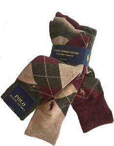 New Polo Ralph Lauren Men's Dress Argyle Crew Socks 3 Pack Size 10-13
