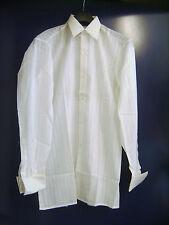 """Chemise vintage habillée """"Terlosan"""" blanche à lignes fantaisie taille 37 neuve"""