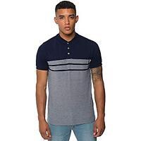 Loyalty&Faith Button Up Polo Shirt Colour Block Stripe Mens Navy Size 4XL *REF55