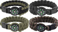 Paracord Bracelet Survival Military Para Cobra Bracelet w/ Buckle & Compass