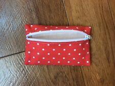 Fatto a mano Auricolari Cuffie Con Cerniera Custodia-Cath Kidston Tessuto Rosso Mini Pallini