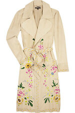 Roberto Cavalli Hand painted trench floral coat dress designer suede leather 42