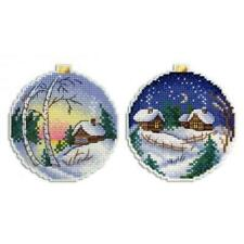 MP Studia Counted Cross Stitch Kit - Christmas scene baubles - Plastic Canvas