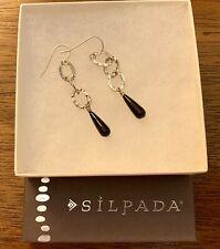 Silpada Sterling Silver Black Onyx Triple Hoop Circle Earrings W1281 Retired