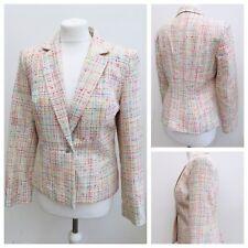 Ladies Cream Multicoloured Tweed Blazer Jacket Button Wedding Party Work Size 12