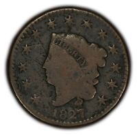 1827 1c Coronet Head Large Cent - Better Date - VG Details - SKU-Y2372