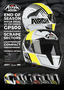 NEW AIROH GP500 FULL FACE CARBON FIBRE MOTORCYCLE SPORTSBIKE HELMET YELLOW GLOSS