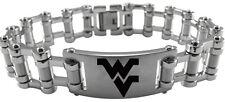 WEST VIRGINIA MOUNTAINEERS * Stainless Steel Bike Chain Bracelet w/Logo NCAA NEW