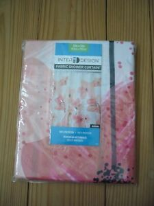 "INTERDESIGN Pink Blossom 100% Polyester Fabric Shower Curtain 72"" x 72"""