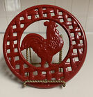 Cast-iron red rooster trivet folk art wall hanging Farmhouse Theme