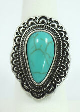 Vintage Style Bohemian Faux Tear Drop Turquoise Ring