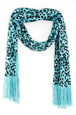 RETRO TEAL / BLACK LADIES LEOPARD PRINT SCARF UNIQUE STATEMENT (MS4)