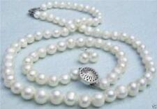 Genuine 7-8mm white freshwater pearl necklace bracelet and earrings set