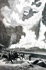 Val Anzasca Europe MONTE ROZA AVALANCHE 1871 Antique Matted Engraving Print