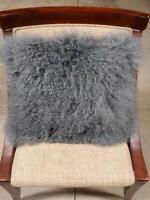Real Mongolian Tibetan Lamb Fur Pillow Cushion Cover Pillowcase Gray Luxurious