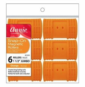 """Annie X-Jumbo 1 3/4"""" Snap-On Magnetic Rollers - No Pins  - Orange 6-Pack #1220"""