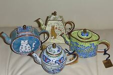 4 C. Maddicott Miniature Enamel Hand Painted Limited Edition Teapots