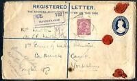 BRITISH INDIA TO GREAT BRITAIN SECUNDERABAD Cancel Reg Postal Stationery + Stamp