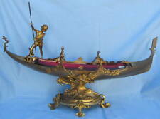19th Century French Bronze & Red Glass Ship Figurine Centerpiece    MAGNIFICENT