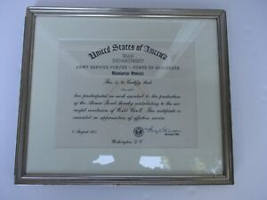 WWII US Army Manhattan Project Service Certificate Atomic Bomb Project Framed