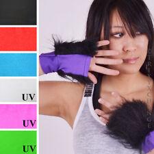 Womens Black Furry Fur Gloves Wristbands Cheshire Cat Halloween Costume Cuffs O1
